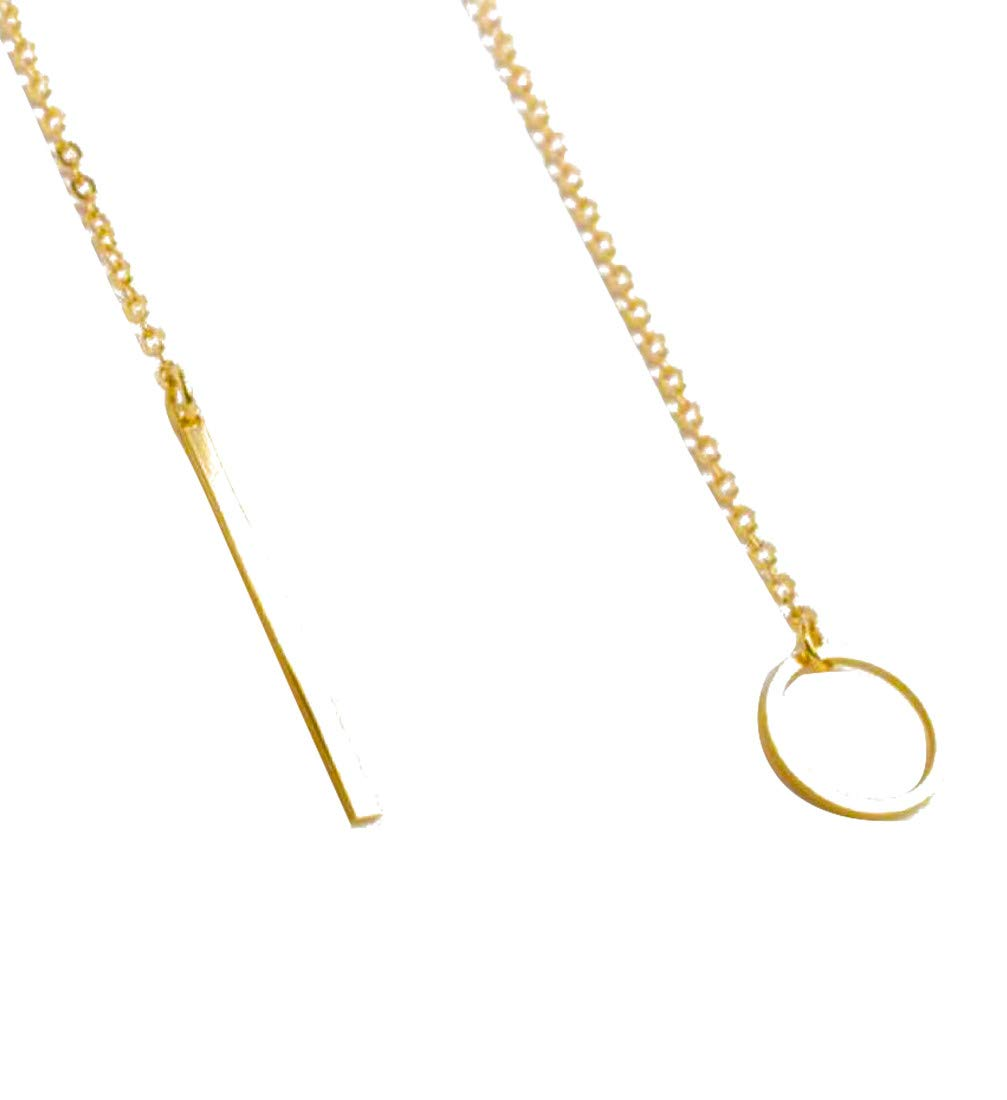 ZODRQ Necklace Simple Metal Ring Short Necklaces Chic Y Shaped Circle Alloy for Women Lady