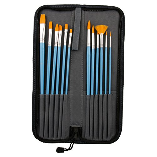 US Art Supply Halloween Face Paint 12-Piece Long Handle Premium Nylon Hair Brush Set with Carry -