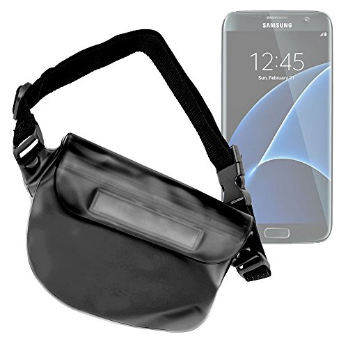 DURAGADGET Premium Quality Black Travel Water-Resistant Pouch Case - Compatible with the NEW Samsung Galaxy S7 and S7 Edge Smartphones - With Adjustable Waist Strap - Edge Marketing Pool