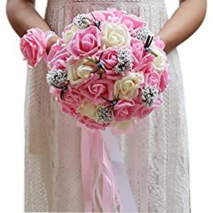 ThyWay Bridesmaid Wedding Bouquet, Bridal Artificial Silk Roses Flowers With Beautiful Ribbon (Pink) 111