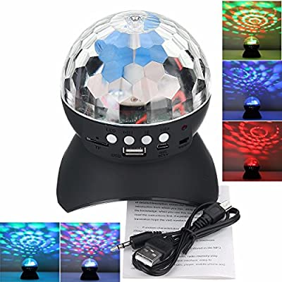 YARKOR Disco Ball Party with Bluetooth Speaker, DJ lights with Remote Control for Party and Family Gathering,Colourful,Wonderful,Mini Led Stage Lights(with Remote) from YARKOR