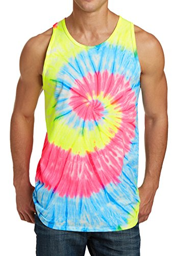 Tie Dye Tank Tops Beer Vacation Fun Grateful Rave Music Neon Rainbow L