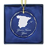 Round Crystal Christmas Ornament - Country Silhouette Spain - Personalized Engraving Included