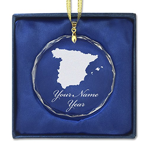 Round Crystal Christmas Ornament - Country Silhouette Spain - Personalized Engraving Included by SkunkWerkz