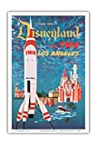 Fly TWA Los Angeles - Trans World Airlines - Disneyland's Tomorrowland TWA Moonliner - Vintage Airline Travel Poster by David Klein c.1955 - Master Art Print - 12in x 18in