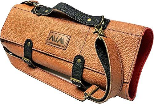 MiM Luxury Chef Knife Roll Durable Knife Bag for Chefs PU Leather W/Reinforced Shoulder Strap Brown by MiM