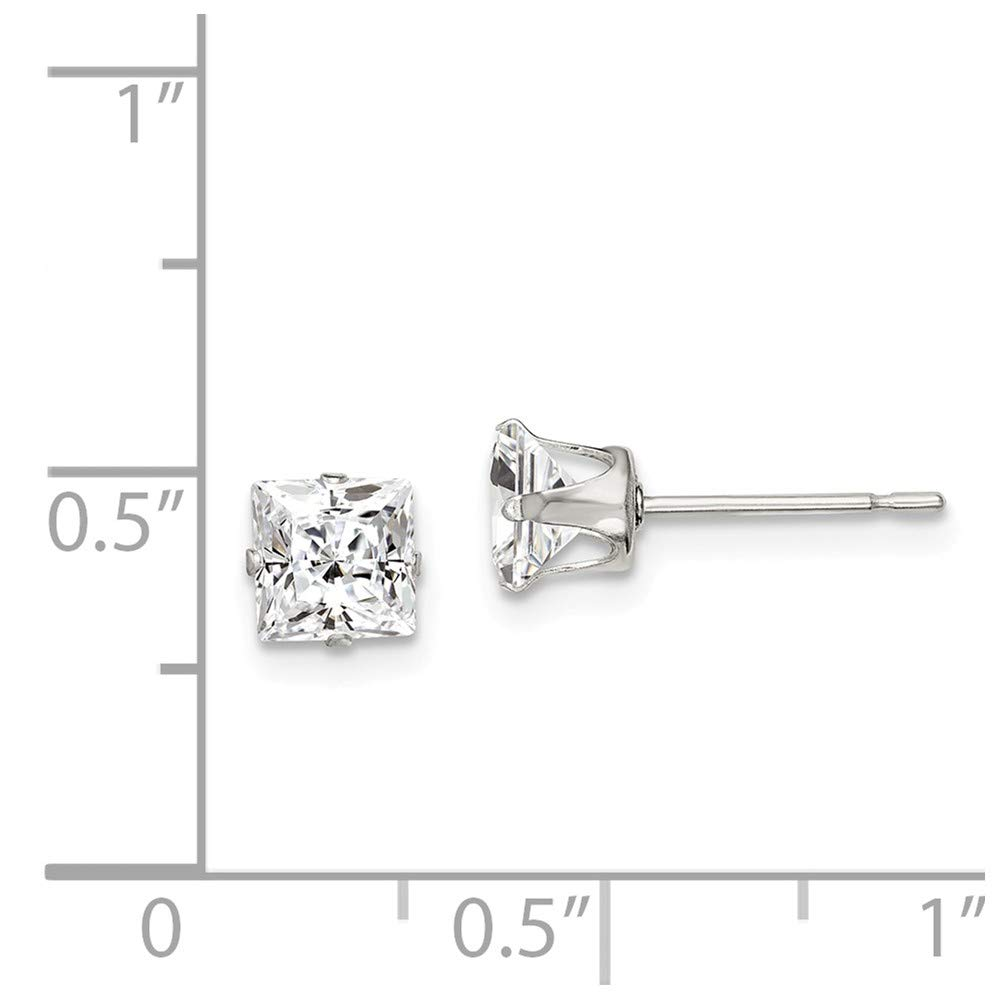 Mia Diamonds 925 Sterling Silver 5mm Square Cubic Zirconia 4 Prong Stud Earrings 5mm x 5mm