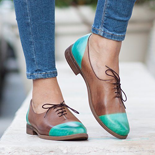 Green Brown Handmade Leather Women's Oxford Shoes by Bangi Shoes