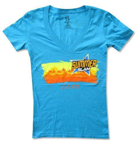 Juniors WWE Wrestling LA 2013 Summer Slam Aqua Blue V-Neck Baby Doll T-Shirt (Small) by WWE Authentic