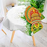 aolankaili Circular Table Cover Washable Polyester-Asian Ritualistic Asian Ceremonial Dance Figure and Boat Stain Resistant Wrinkle Free Dust Table Cover 47.5'' Round