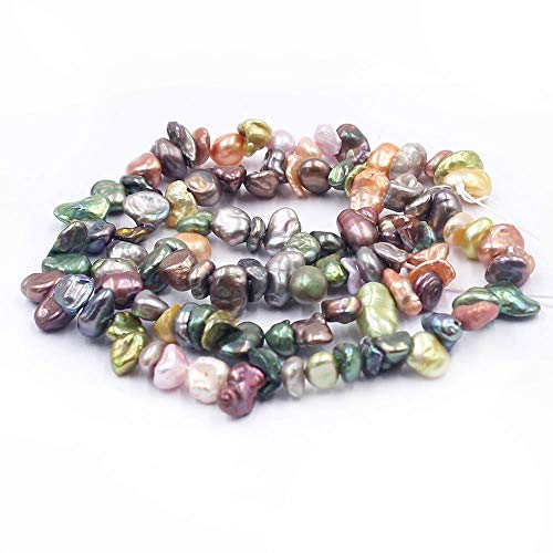 (SR BGSJ Jewelry Making Craft Natural 6-8mm Potato Reborn Multicolor Freshwater Pearl Beads Gemstone Spacer Loose Beads Strand 15