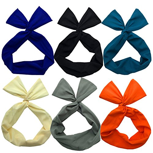 twist-bow-wired-headbands-scarf-wrap-hair-accessory-hairband-by-sea-team6-packs-solid-