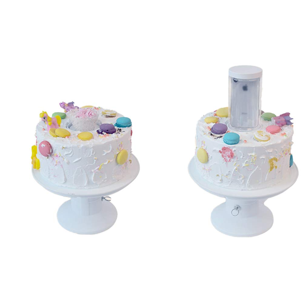 Surprise Musical Popping Cakes Stand Happy Birthday Cake Holder 2 en 1 Popping Cake Con Music Box Trigger Cakes Tool Blanco, Talla /única