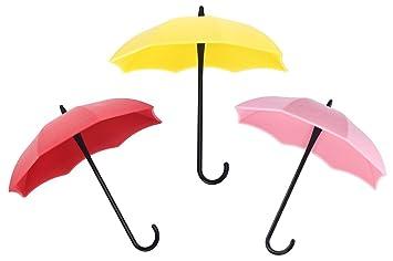 ULTNICE 3pcs coloridos Gancho Colgador paraguas forma colgar ganchos Stick soporte de pared para pequeños artículos