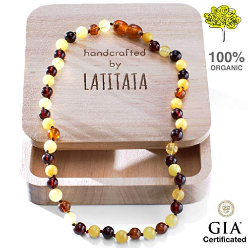 (Amber Teething Necklace for Baby - Round Organic Raw Baltic Amber Beads - Anti Inflammatory Drooling & Teething Pain Relief - GIA Certificated Natural Jewelry for Boys and Girls - Handcrafted)