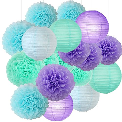 Mermaid Party Decorations Under the Sea Theme Purple Blue Mint Baby Shower Decorations Tissue Pom Poms Paper Lanterns First Birthday Decorations Purple Bridal Shower Decorations Mermaid Party Supplies]()