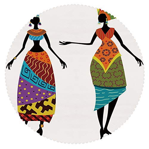 iPrint Round Tablecloth [ African Woman,Tribal Ladies in Traditional Costume Silhouettes Ethnicity Elegance Vintage Decorative,Multicolor ] Decorative Ideas for $<!--$131.42-->
