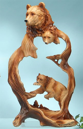 Unison Gifts Bear with Fish Carving (Wood Fish Carvings)