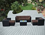 Ohana 8-Piece Outdoor Patio Furniture Sectional Conversation Set, Black Wicker with Brown Cushions – No Assembly with Free Patio Cover For Sale