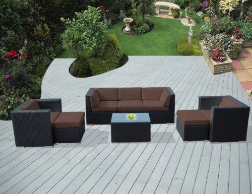 Ohana 8-Piece Outdoor Patio Furniture Sectional Conversation Set, Black Wicker with Brown Cushions - No Assembly with Free Patio Cover