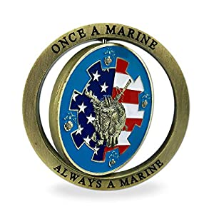 Marine Corps Challenge Coin Spinner Military Coins Once a Marine Always a Marine from Amazinga