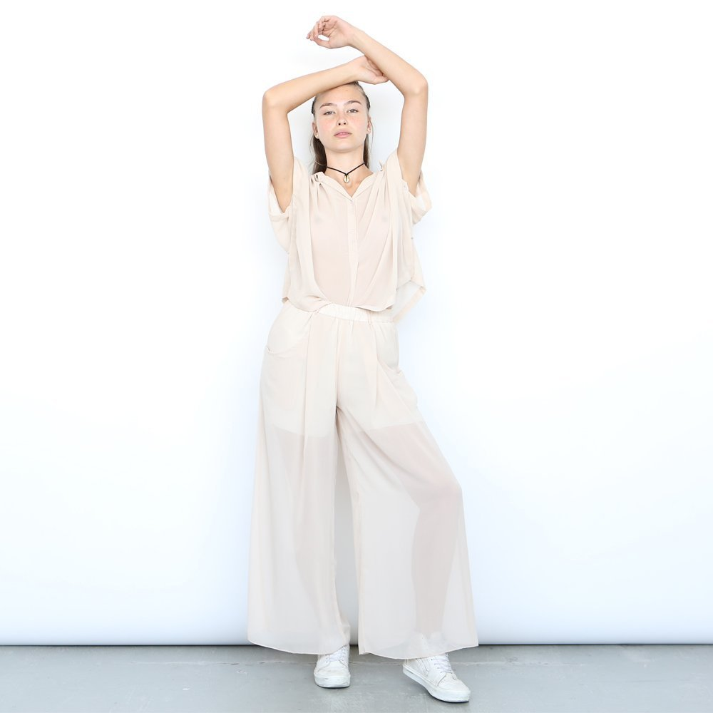 High Waist Sheer Trousers, sheer pants , Nude. by Naftul
