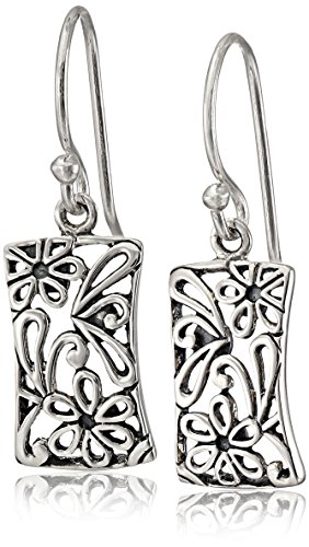 Long Earrings Rectangle - Sterling Silver Bali Filigree Rectangle Drop Dangle Earrings