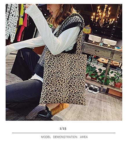 Claro Bolso Salvaje Mayor Por Leopardo Hombro La Lona Marrón Coreana Mano Moda Bolsa Femenina Saoga Al De Patrón 1qRRT