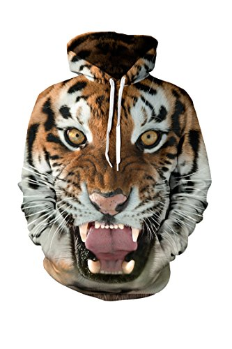 CHICOCO Hipsters Roaring Tiger Head Printed Winter Pullover Hoodie Outwear (Roaring Twenties Mens Fashion)
