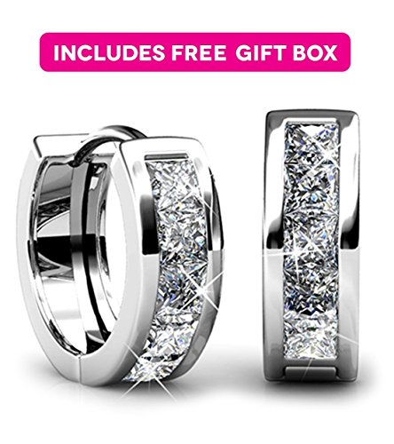 Jade Marie AMAZE Small Silver Huggie Hoop Earrings, 18k White Gold Plated Hoops with Princess Cut Swarovski Crystals, Tiny Hoop Hypoallergenic Earrings for Women, Gifts for Girls, BRIDESMAID JEWELRY