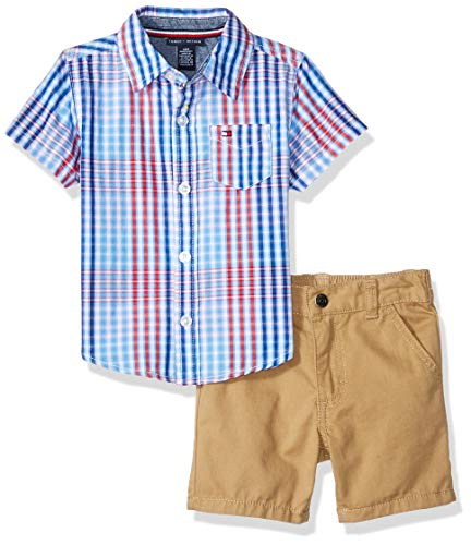 Tommy Hilfiger 2 Piece - Tommy Hilfiger Baby Boys 2 Pieces Shirt Shorts Set, red/Blue Plaid 6-9 Months