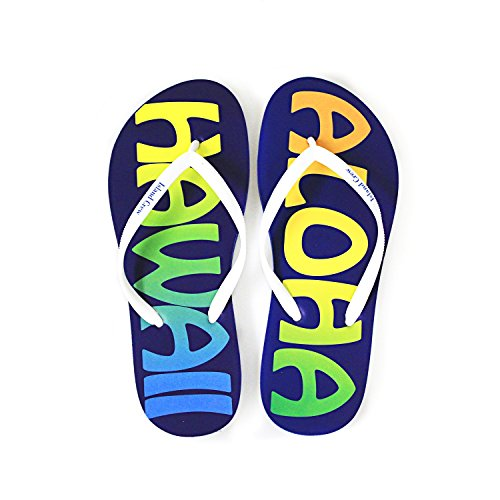 Hawaiian Print Sunset Beach Palm Hibiscus Wave Women Flip Flops Sandals in Aloha Hawaii M from Hawaii Hangover