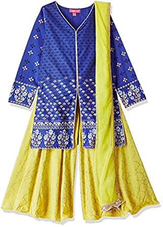 Biba Girls's Angrakha Cotton Calf-Long Salwar Suit Set, 9 Years