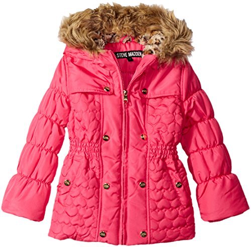 Steve Madden Little Girls' Toddler Bubble Jacket with Heart Shape Quilting, Fuchsia, 3T