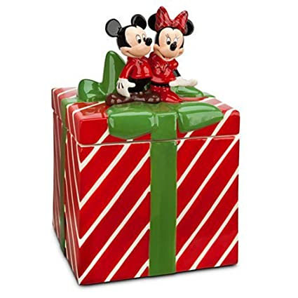 Disney Cookie Jars >> Mickey And Minnie Mouse Christmas Holiday Cookie Jar By Disney