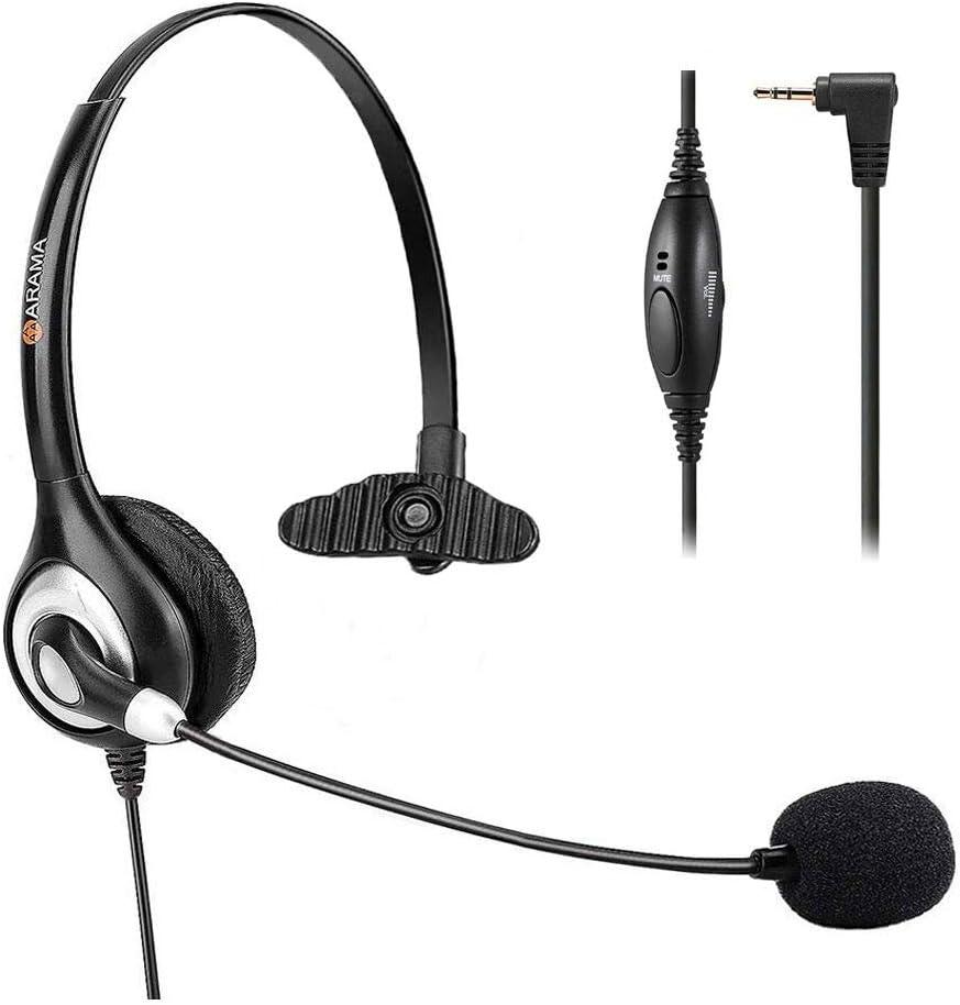 Auriculares de teléfono de 2,5 mm, con micrófono de cancelación de ruido para teléfonos inalámbricos AT & T Panasonic Vtech Uniden Cisco Grandstream Polycom y Dect...