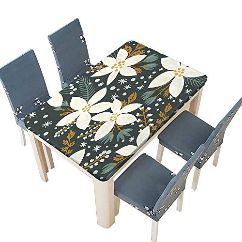 PINAFORE Polyester Tablecloth Poinsettia Garden Blossoms Hawaiian Inspired Art Print White and Caramel Easy Care Spillproof W61 x L100 INCH (Elastic Edge)