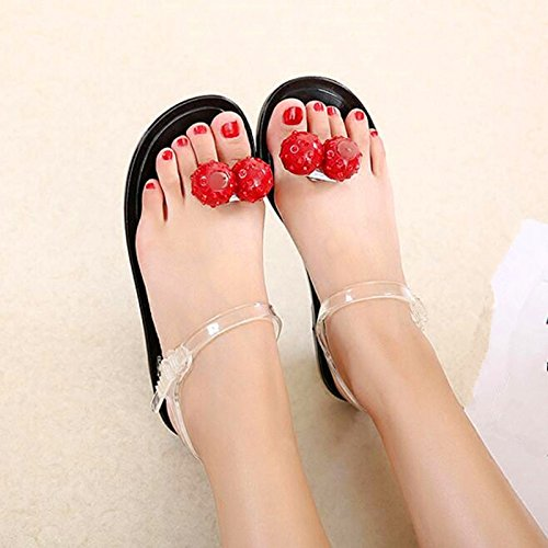 JUWOJIA Sweet Fruit Cherry Strawberry Jelly Shoes Summer Summer Beach Beach Sandals Crystal Candy Shoes. Orange white