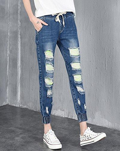 Mujer Jeggings Vaquero rotos de elasticos Casual Largos Pantalones con Cordón en la Cintura Azul Oscuro