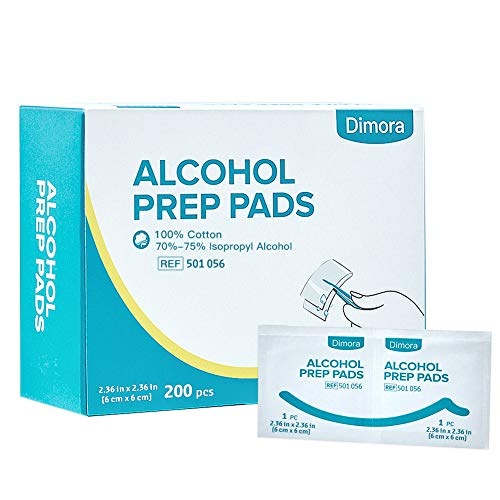 Dimora Sterile Alcohol Prep Pads, 4-Ply Square Cotton Pads, 200pcs Alcohol Wipes (2.36 inches x 2.36 inches) ()