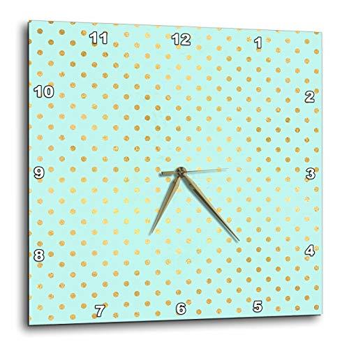 3dRose Anne Marie Baugh - Patterns - Cute Gold Color On Mint Green Polka Dot Pattern - 10x10 Wall Clock -