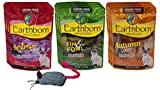 Earthborn Holistic Grain Free Cat Food 3 Flavor Variety 9 Pouch Bundle with Toy, (3) Each: Upstream Grille, Autumn Tide, Fin & Fowl (3 Ounces)