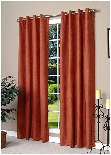 Commonwealth Home Fashions Thermalogic Media Insulated Grommet Top Curtain Panel-Terracotta, 50 x 95