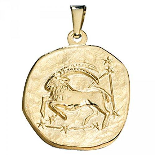 Pendentif signe du zodiaque Capricorne en or jaune 333