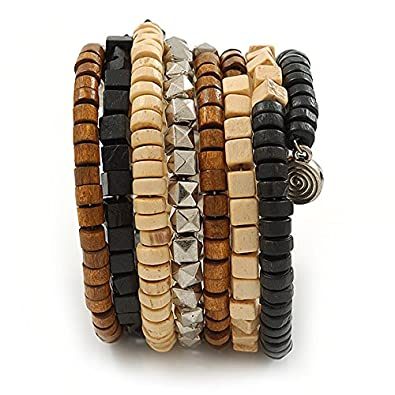 dcc4aa4c6e5b5d Wide Brown Wooden Bead Coil Flex Bracelet Adjustable Uhren   Schmuck