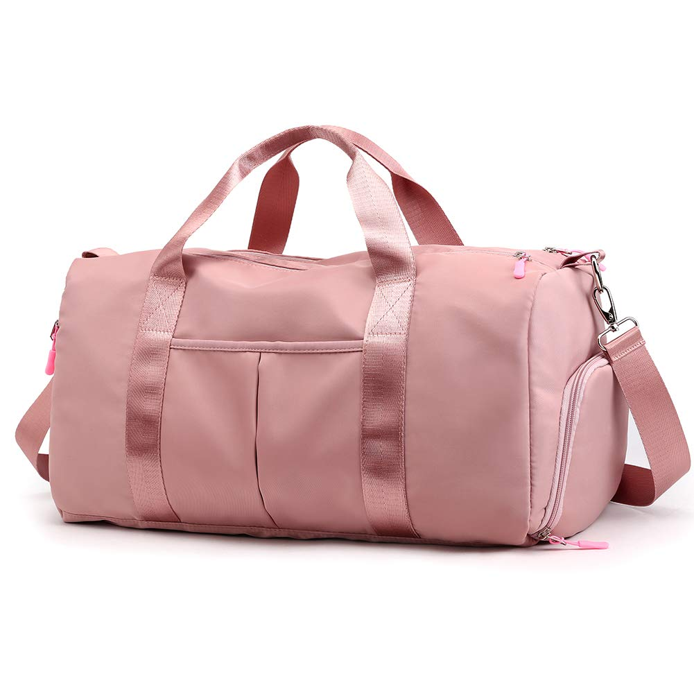 37c6027390b8 Forestfish Sports Gym Bag Travel Duffel Bag with Dry Wet Pocket & Shoes  Compartment for Women and Men (Pink)