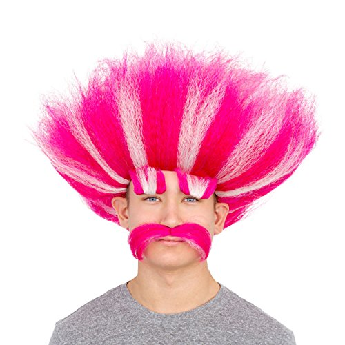 Adult Deluxe King Troll Wig and Mustache Kit]()