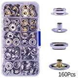 160 Pcs Snaps Fastener, (Marine Grade, 40 of Each Piece Caps/Studs / 3/8'' Sockets/Posts) Heavy Duty Metal Snaps Button for Boat Canvas by YZS, 40 Sets