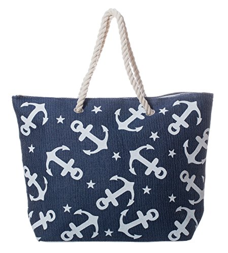 Large Water Resistant Nautical Anchor Pattern Zipper Beach Bag Tote with Rope Handles (Blue)