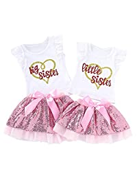 Camidy Girls Matching Outfits Sisters T-Shirt Romper + Sequin Tutu Skirt Clothes Set
